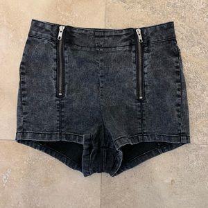 The Kooples high-waisted grey denim shorts